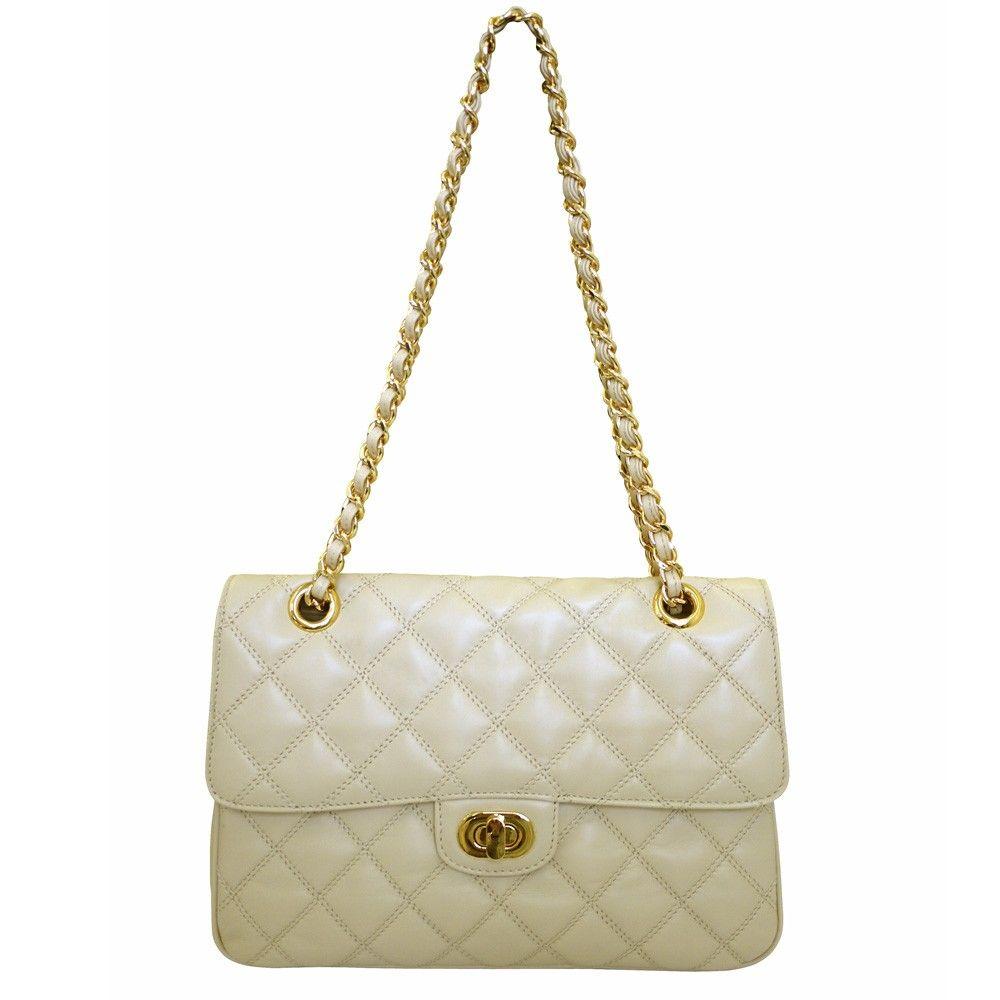 Designer Chanel Style Quilted Leather Shoulder Handbag cream front £229.00