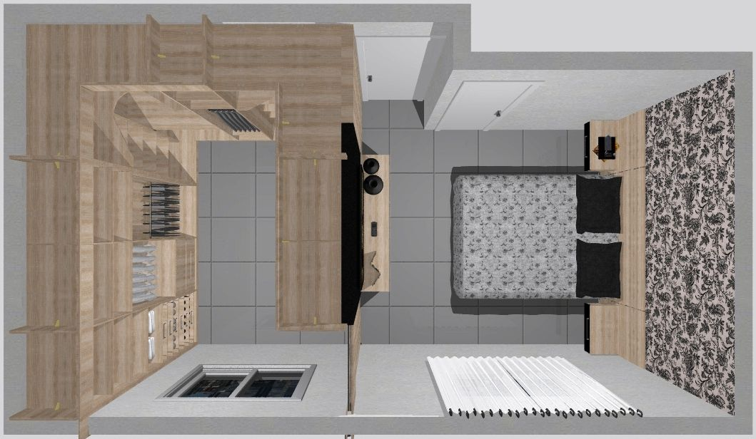 Quarto com closet ideias para casa pinterest quarto for Dormitorio 3x5