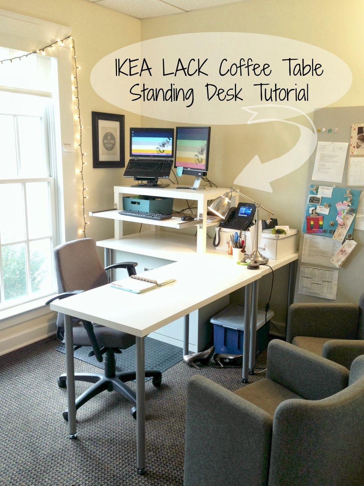 KALLAX LINNMON desk hack corner desk for both sit and stand ...