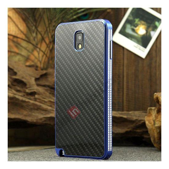 Aluminium Metal Bumper and Carbon fiber Protective back Case For Samsung Galaxy Note 3 N9000 - Blue/Black US$25.99
