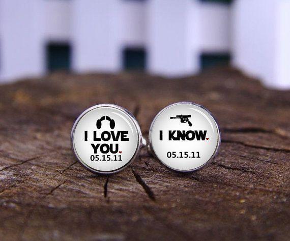 Customize Wedding Cufflinks I Love You Cufflink Know Film Fans Cuff Links Personalized Groom Star Wars