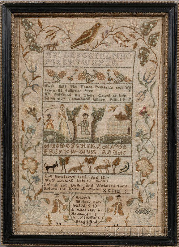 Newport, Rhode Island Needlework Sampler | Sale Number 2482, Lot Number 39 | Skinner Auctioneers