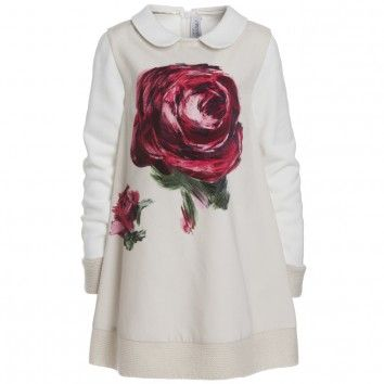 Ivory Jersey Dress With Rose Print