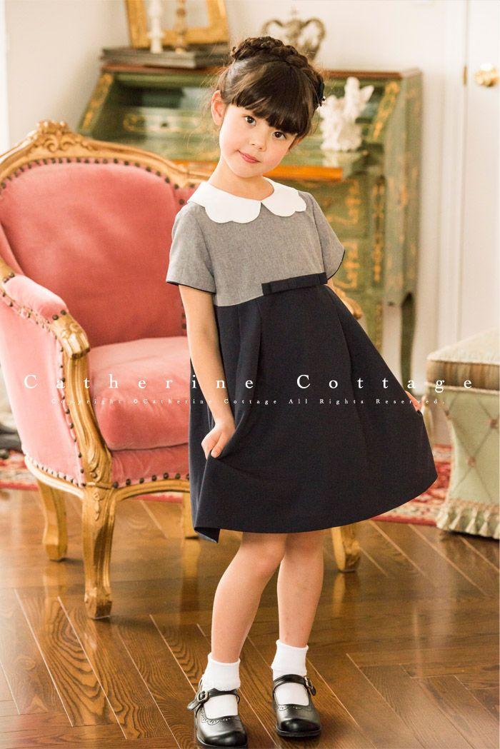 482add308e5ac 女の子ワンピース バイカラースカラップ襟ワンピース  子供服 キッズ フォーマル 110 120 130 140