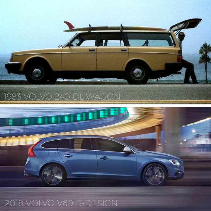 Tbt 1983 Volvo 240 Dl Wagon Vs 2018 Volvo V60 R Design