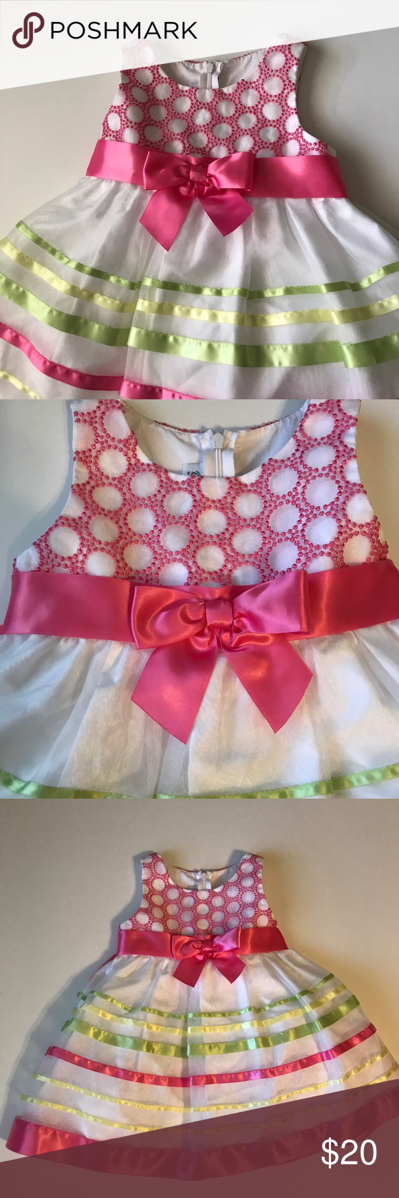 Bonnie Jean Pink, white, green dress with bow 2T Bonnie Jean Pink, white, green dress with bow 2T.  I have 2 of this dress. Both in excellent condition   ::::Bag118 Bonnie Jean Dresses Casual