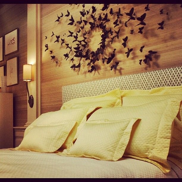 Love the butterfly wall art above the bed | Gorgeous Guest Room ...