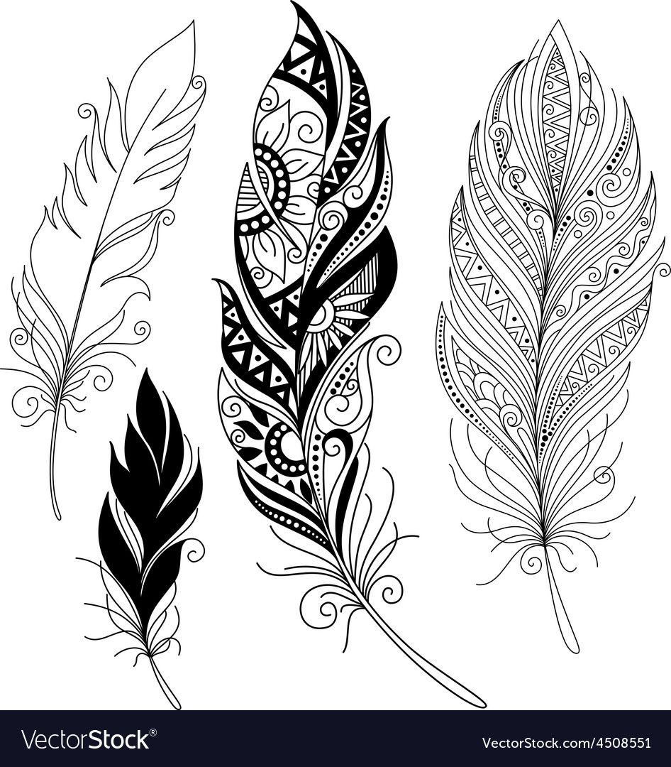 Peerless Decorative Feather Tribal Design Tattoo Download A Free Preview Or High Quality Adobe Illustrat Feather Tattoos Mandala Feather Feather Tattoo Design