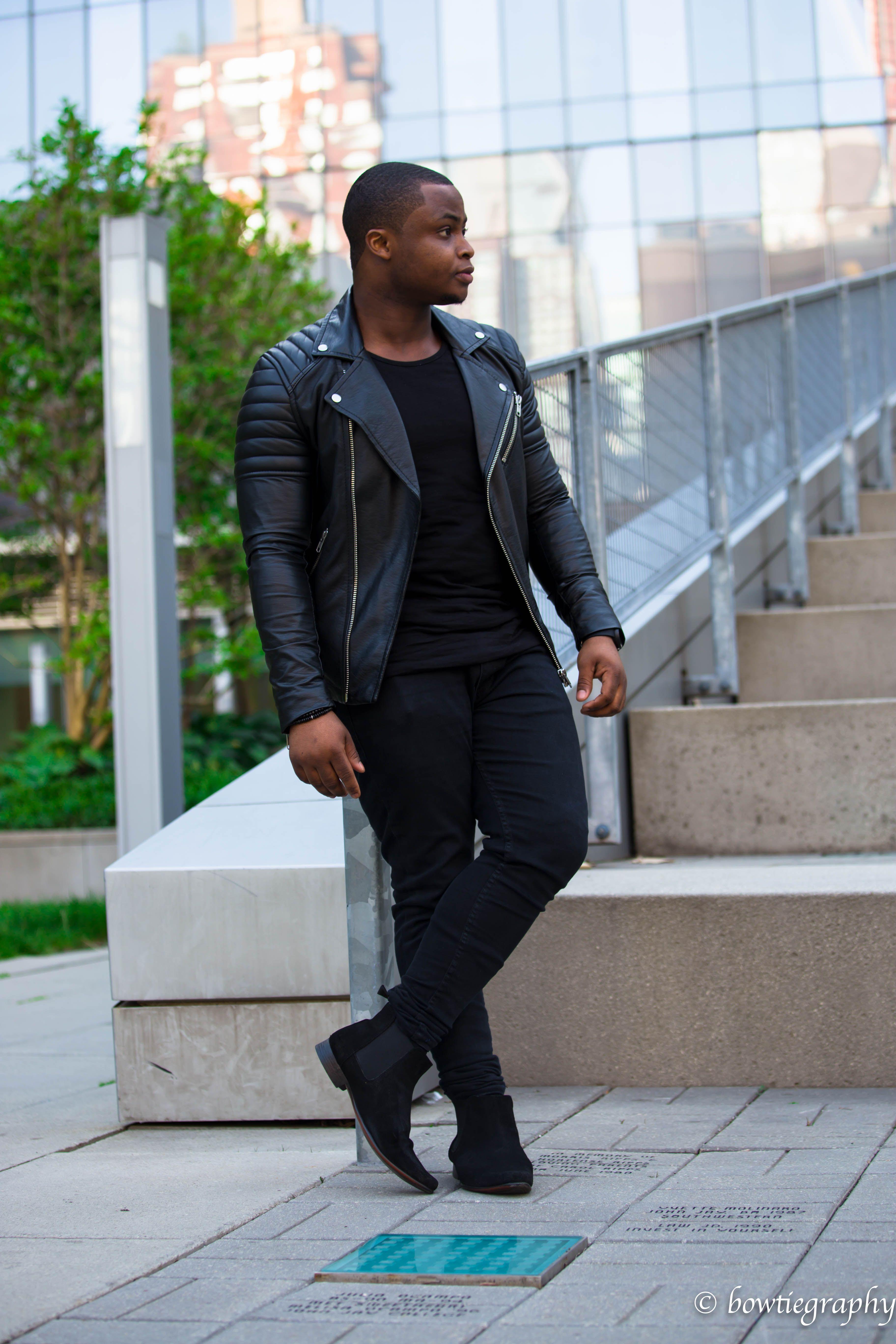 4b660005 All black Black Biker Jacket Black Chelsea Boots NYC | Instagram ...