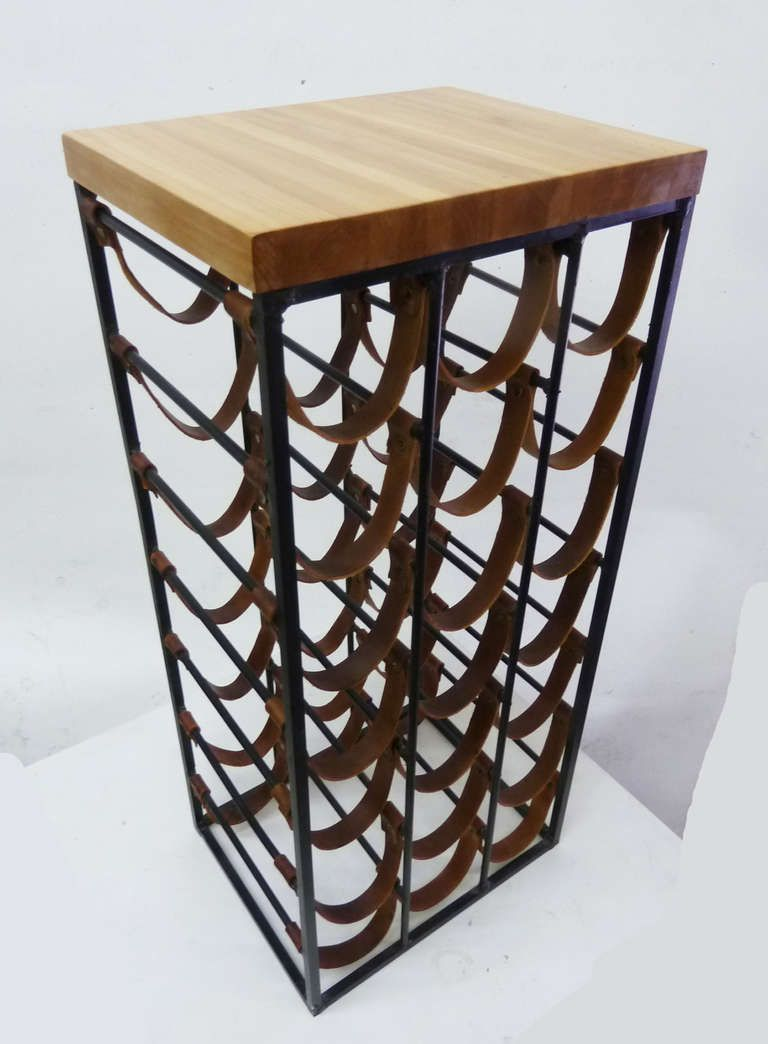 Mid Century Modern Iron And Leather Wine Rack By Arthur Umanoff This Is An Expensive Vintage From A Pricey Website Small For That Wall