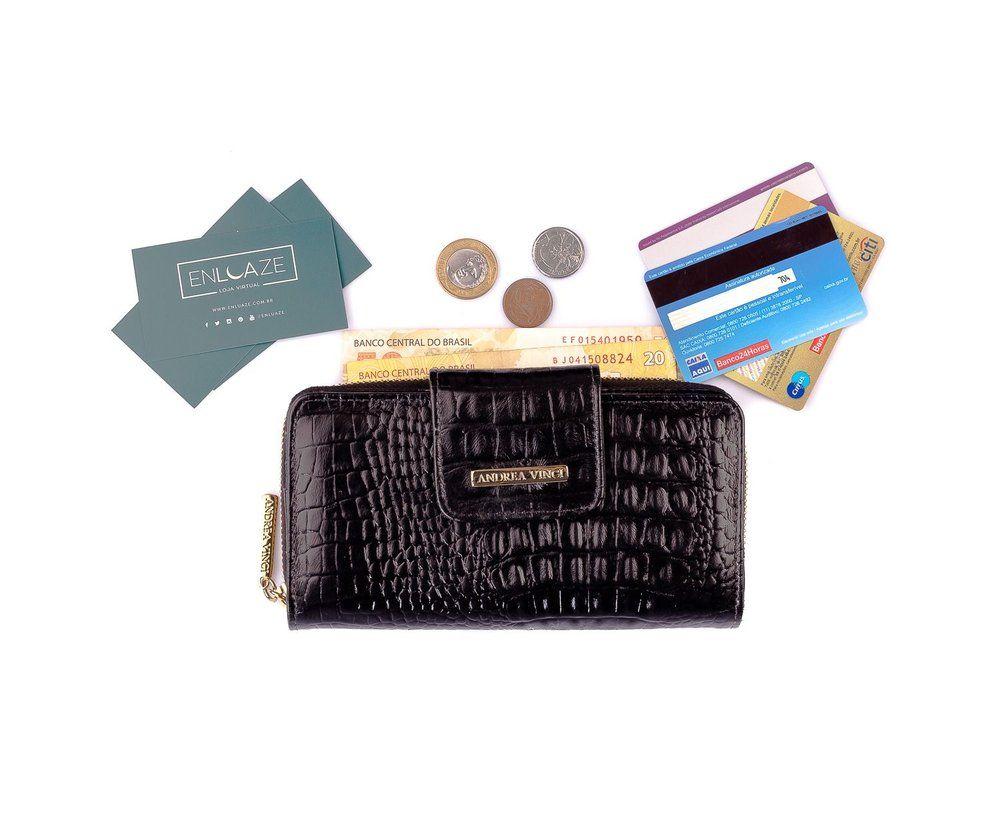 101e159ea Carteira feminina Cindy em couro legítimo preta - Enluaze Loja Virtual |  Bolsas, mochilas e pastas