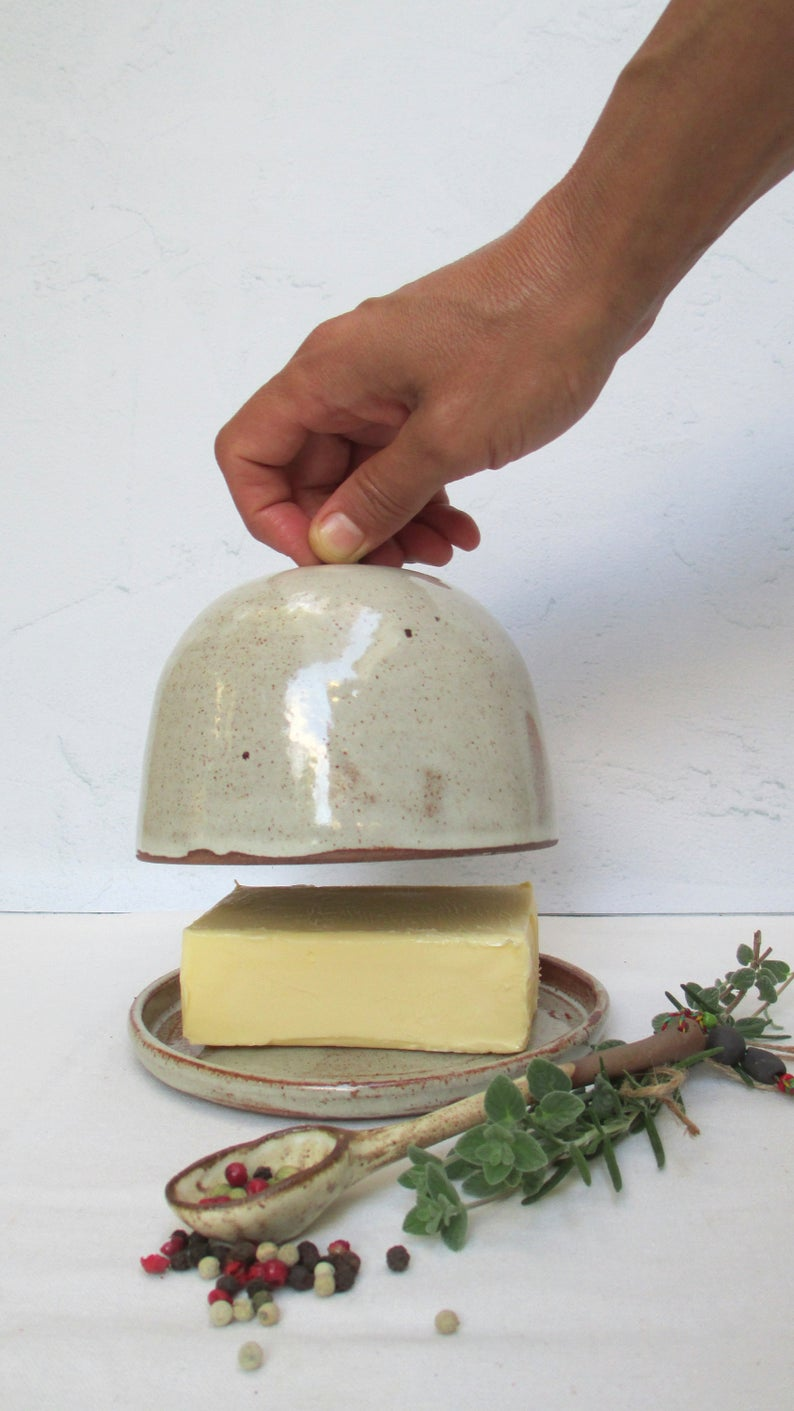 Speckled White Butter Dish, Stoneware Butter Crock, Hostess gift