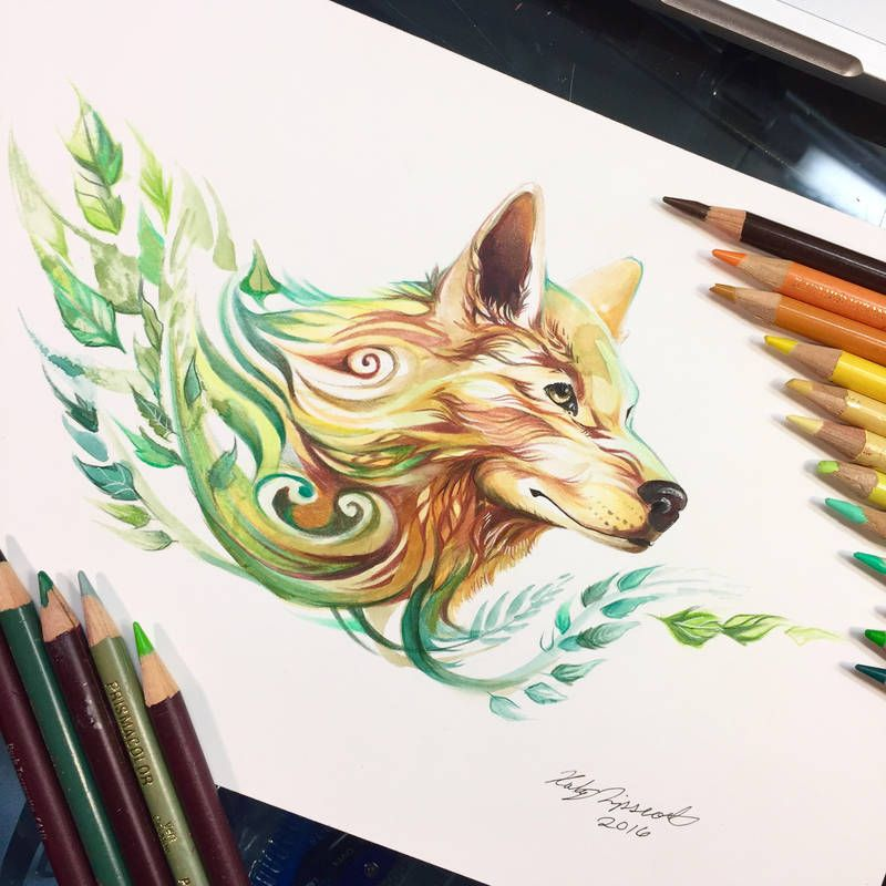 Summer Wolf By Lucky978 Art In 2019 Drawings Pencil Art