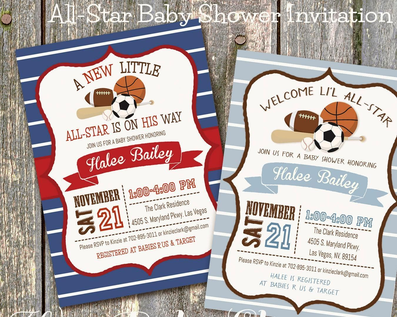 Sports Baby Shower Invitation, Little All-Star Baby Shower - http ...