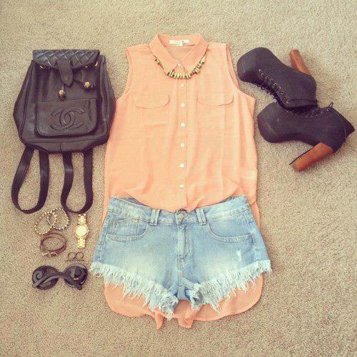 peach sleeveless, jean shorts, litas, small back pack, bangles