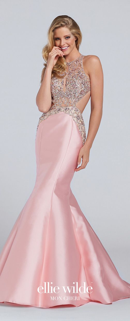 Pink Mikado Mermaid Halter Prom Dress - EW117121 | Illusions, Bodice ...