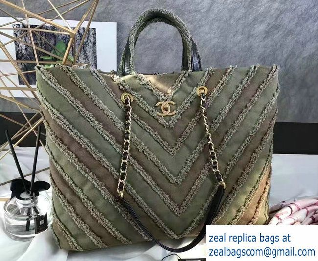 8deb6590d577 Chanel Canvas Chevron Patchwork Large Shopping Bag A93715 Army Green 2017
