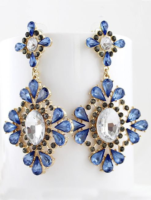 8a66f041ec Blue Drop Gemstone Gold Flower Earrings | Jewellery | Women's ...
