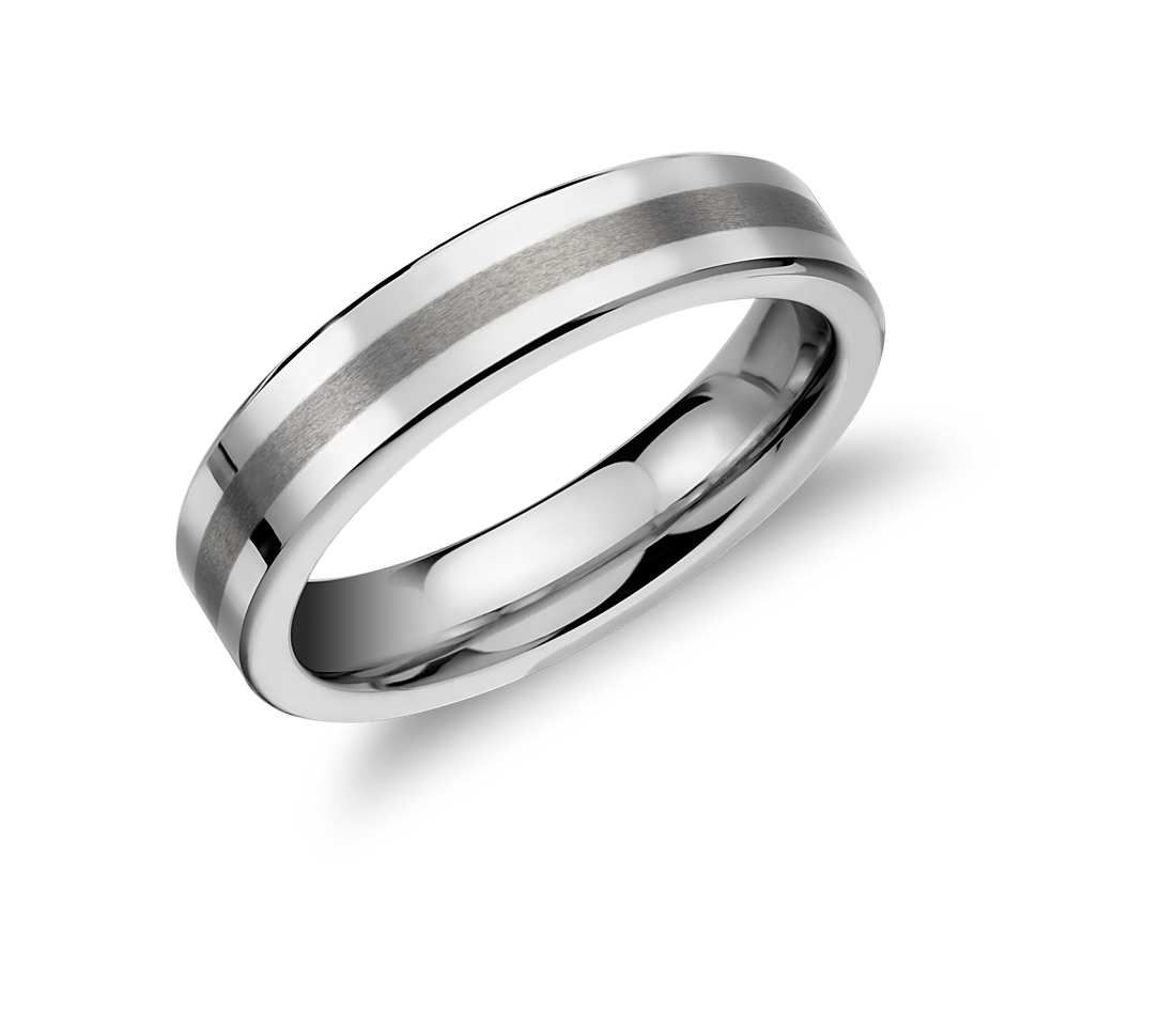 men brushed ring dsc band women for platinum cut pipe comfort fit blue tungsten products wedding