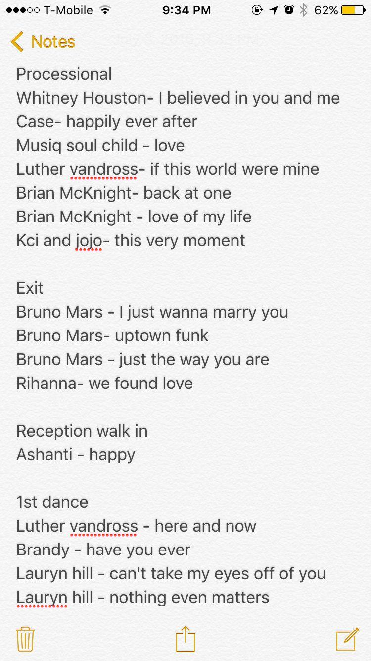 R&B wedding songs Wedding ceremony songs, Wedding songs 2017