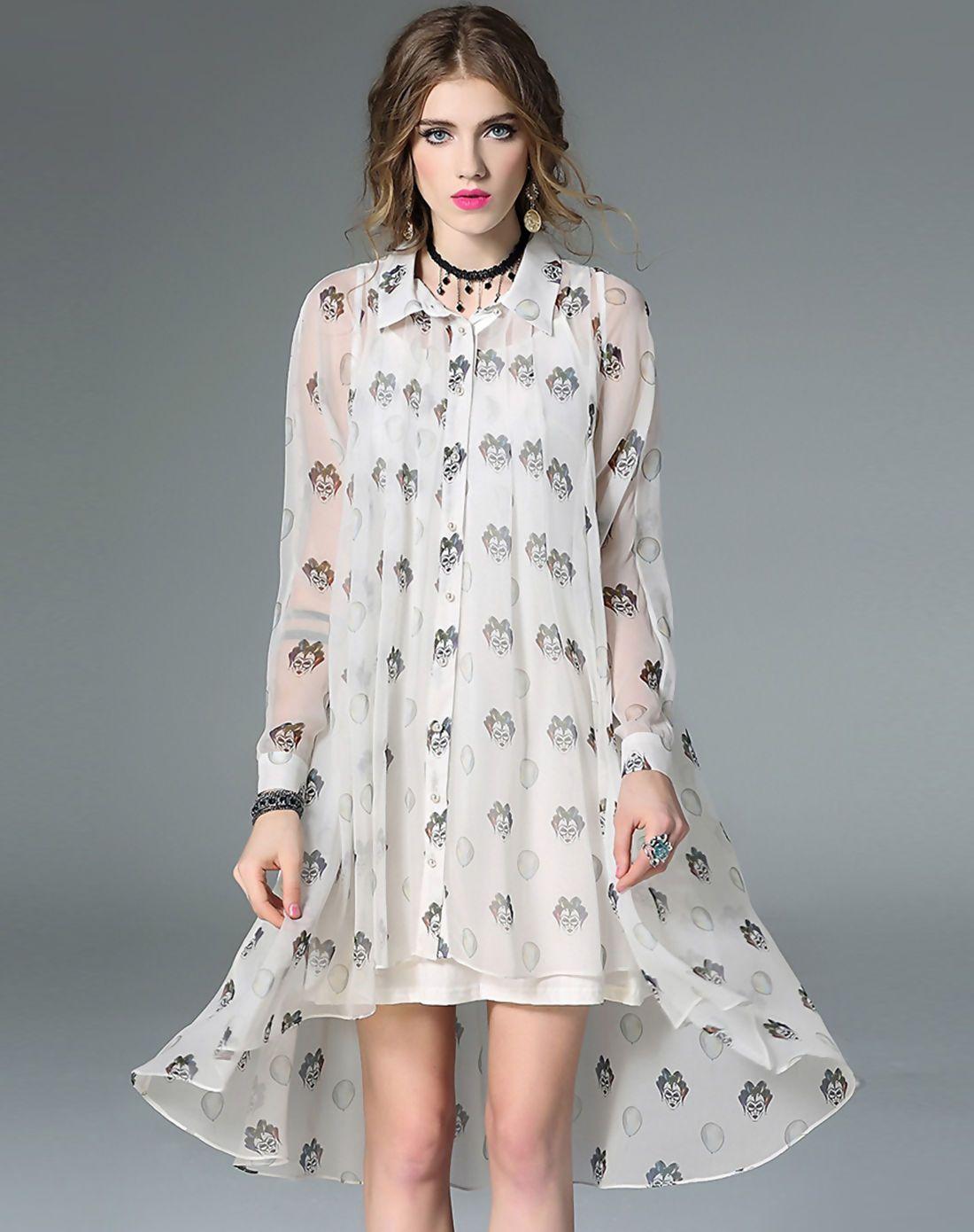 #AdoreWe #VIPme Swing Dresses - mojaser White Silk Printed High Low Swing Dress - AdoreWe.com