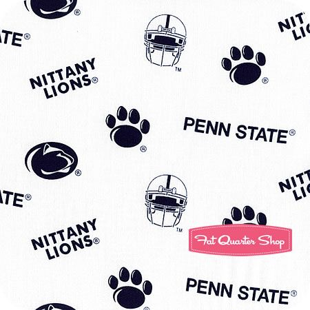 Penn State University Fabric - White Scattered Emblems Yardage SKU# PS-046