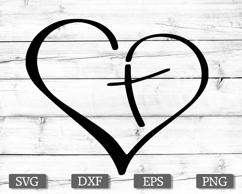 Download Heart love cross svg, Jesus cross svg, faith svg, Jesus ...