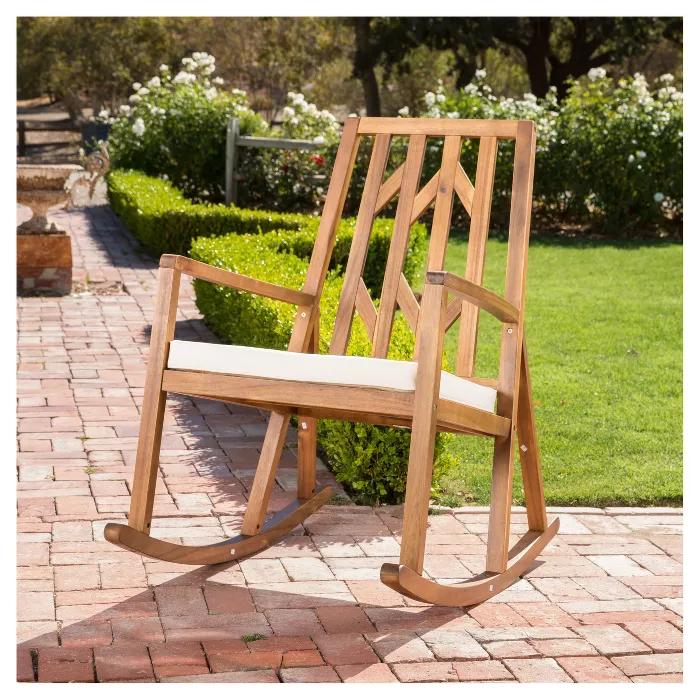 Nuna Acacia Wood Rocking Chair With Cushion White
