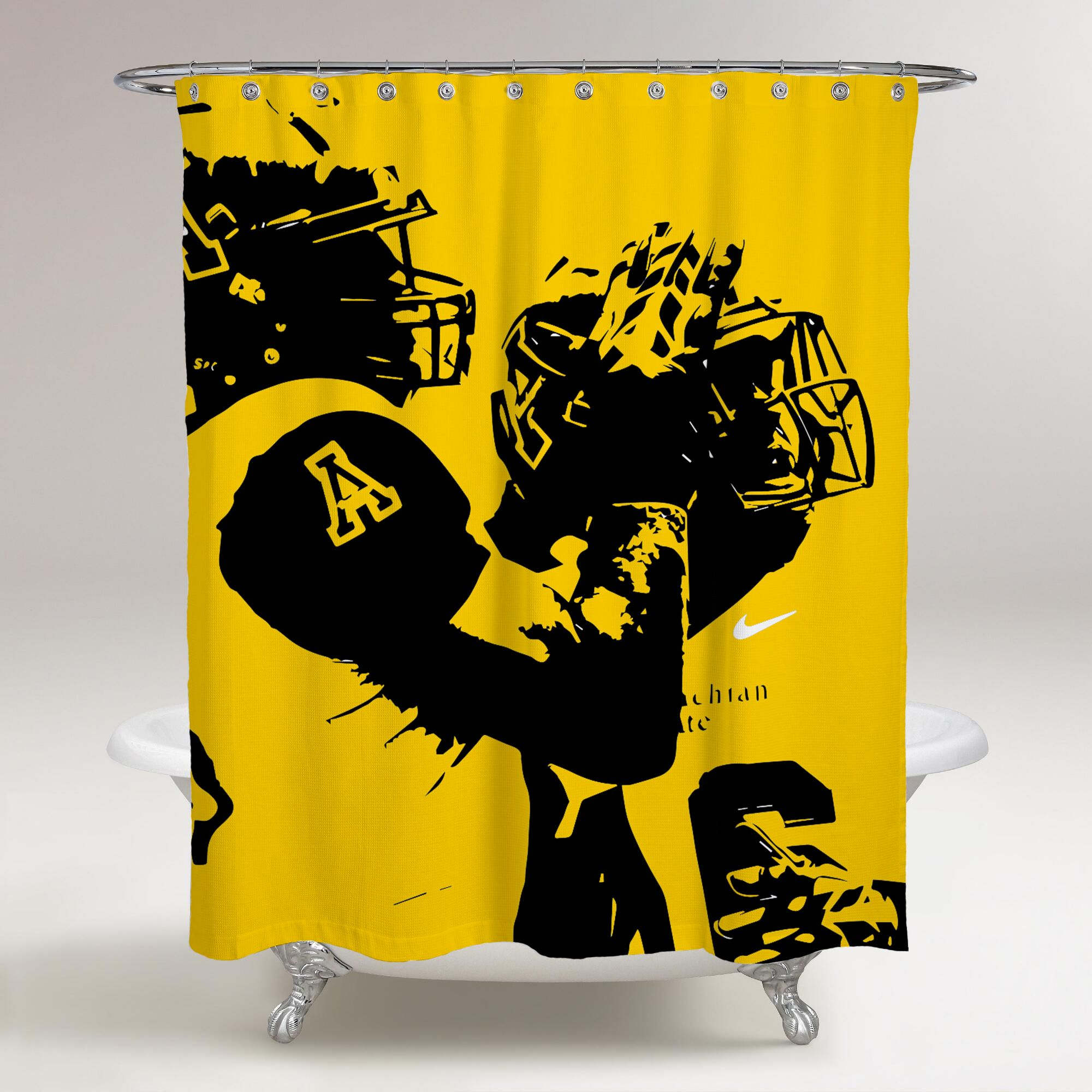 Appalachian State Mountaineers Players Wallpaper Yellow Background Printed Shower Curtain Bathro Bathroom Shower Curtains Shower Curtain Printed Shower Curtain