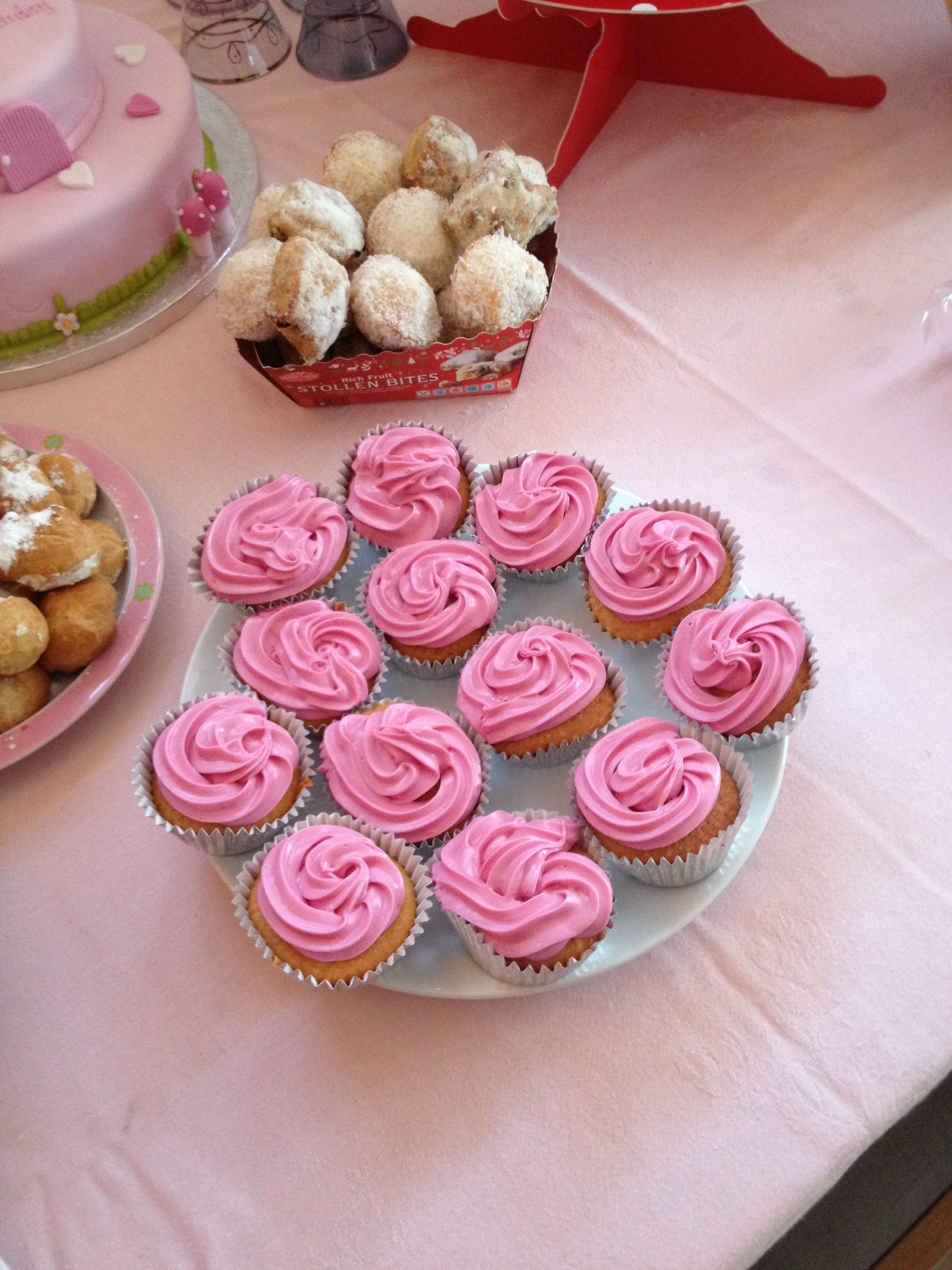 #princess #pink #cupcakes #birthday #girl #tea party #tutu #1st birthday #buttercream #coconut #yummy #party food #food table