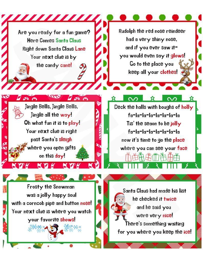 Christmas Scavenger Hunt Clues Christmas Treasure Hunt   Etsy