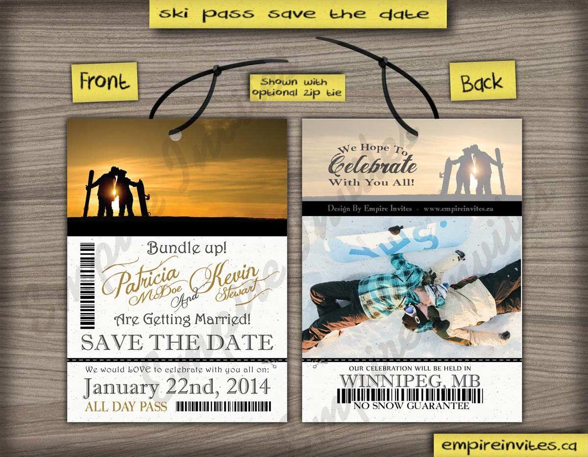 Custom ski pass lift ticket save the date wedding invitations From ...