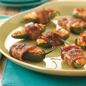 Get your party started with these bacon-wrapped poppers.