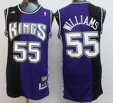 d5262517c6d Men s Sacramento Kings  55 Jason Williams PurpleBlack Hardwood Classics  Soul Swingman Throwback Jersey