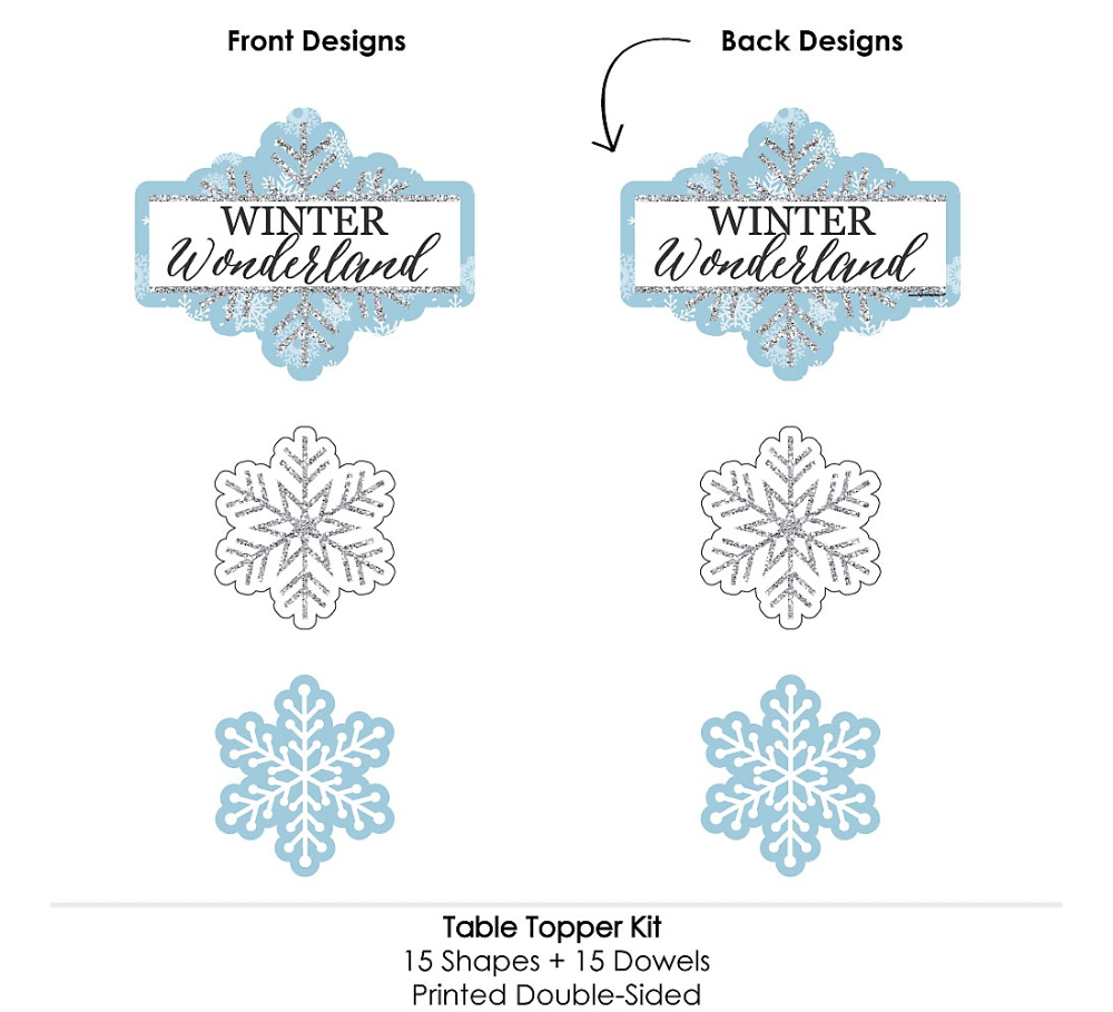 Winter Wonderland – Schneeflocke Holiday Party & Winter Hochzeitsfeier Herzstück Sticks – Table Toppers – Set von 15   – Party – Winter Wonderland