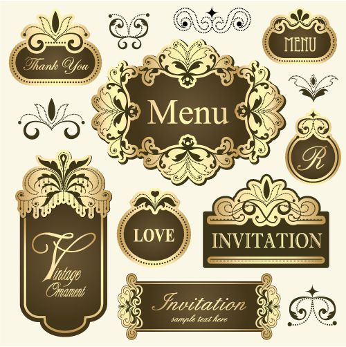 Vintage european pattern frame vector material free download vintage golden frames for invitation cards thank you cards menu label design etc buy this stock vector on shutterstock find other images stopboris Image collections