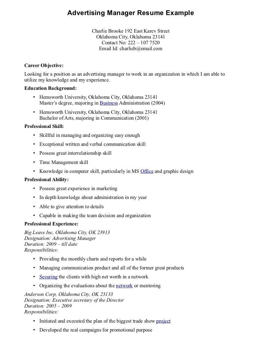 Advertising Manager Resume Sample Manager resume, Resume
