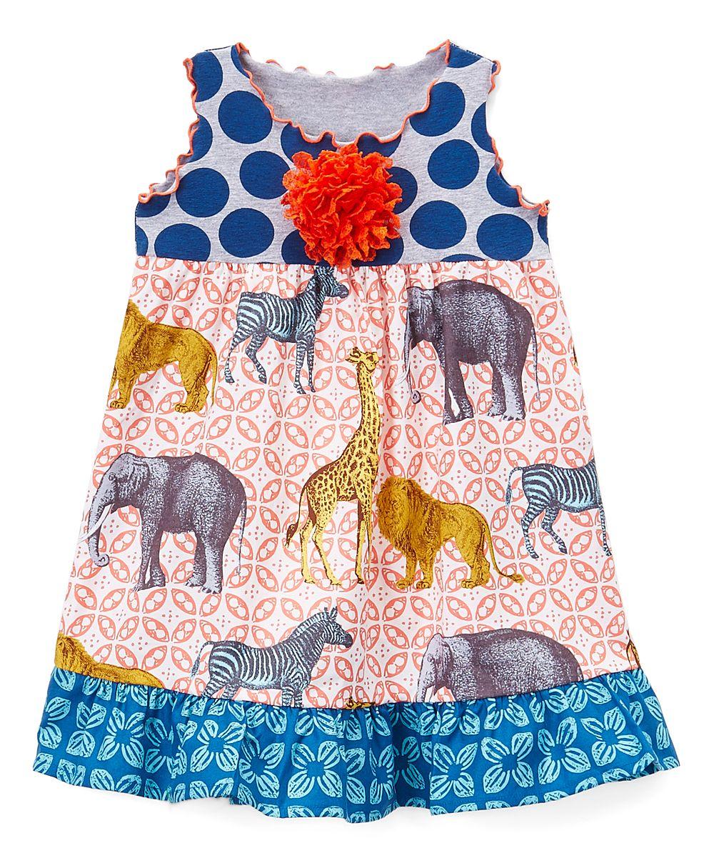 491818236c70 Orange   Blue Safari Ruffle-Trim A-Line Dress - Toddler   Girls ...