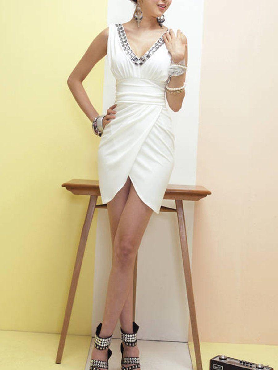Plain Bodycon Dress - Bodycon dress, Clubwear for women, Dresses, White bodycon, Slit dress prom, Bodycon -  Summer Dress