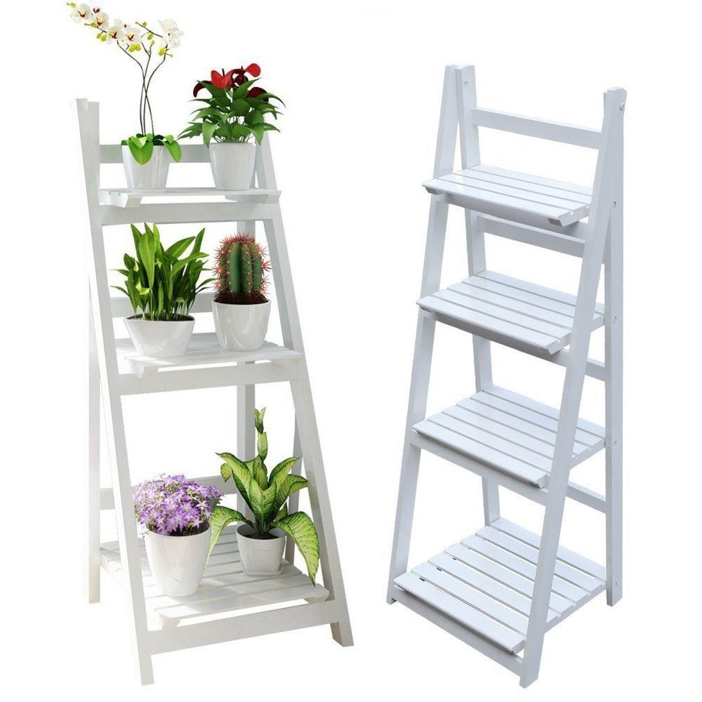 Details About 34 Tier Wooden Ladder Shelf Corner Shelves Bookcase