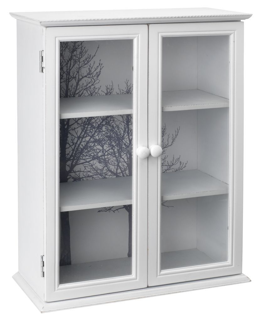 wall display cabinet in white lacquered solid fir and mdf with decorative backing