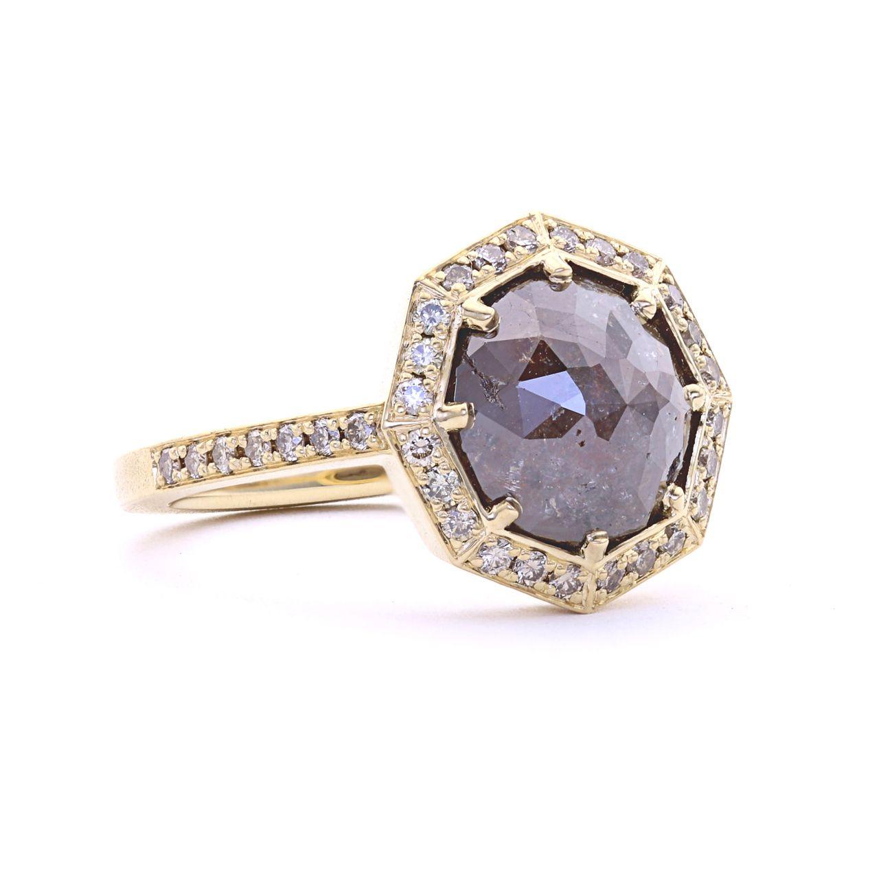 mocha diamond octagonal halo ring | || alternative center stone