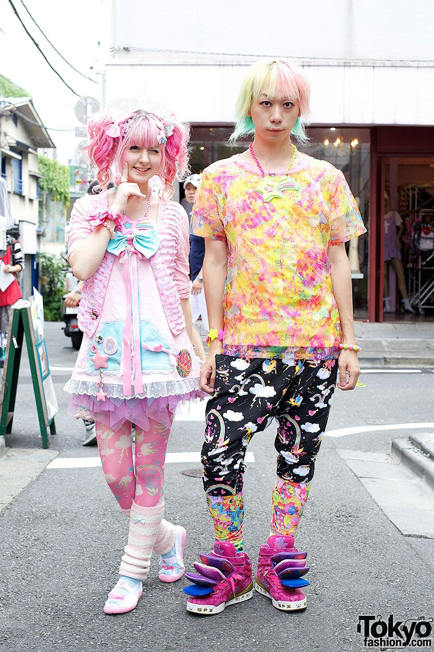 Yukapon & Junnyan in Harajuku.  Here's a colorful Harajuku duo that most of you will recognize – it's Junnyan and Yukapon! Junnyan is a longtime fixture of the Harajuku street fashion scene and one of the founders of Harajuku Fashion Walk. Yukapon is well-known for her various kawaii projects in the US and Japan relating to fashion and music.