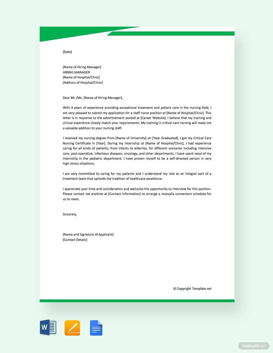 Free Job Application Letter for Nurse Introduction