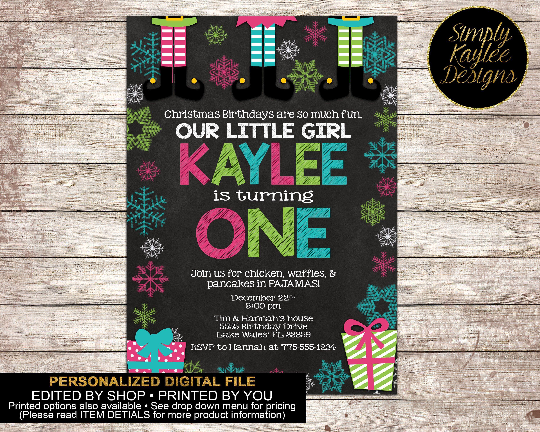 Elf Christmas Birthday Party Invitation by