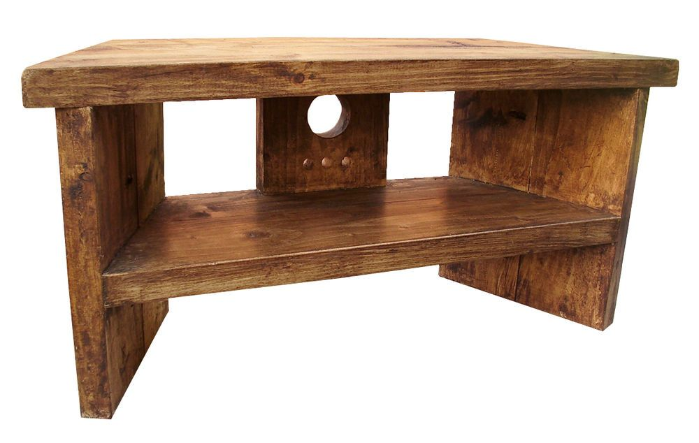 Solid Wood Handmade Rustic Pine Corner Tv Stand Unit