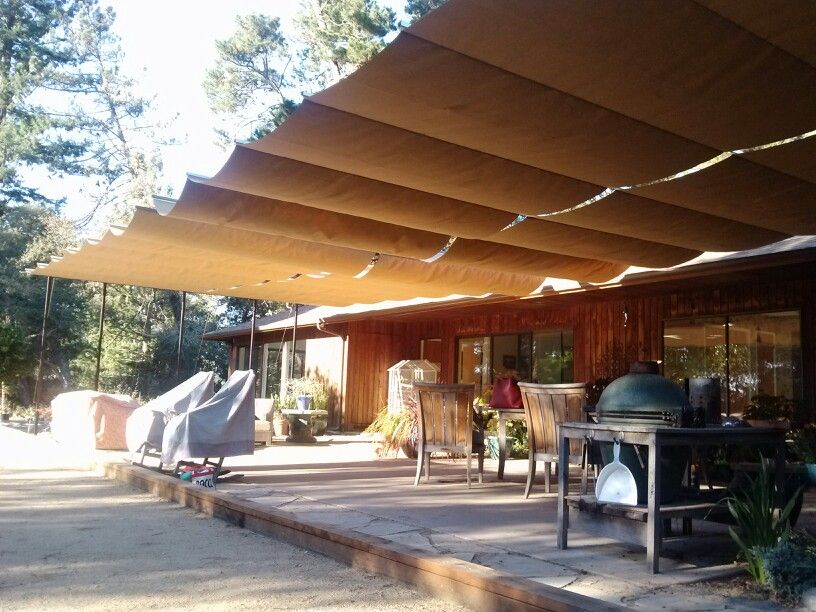 Cable and Canvas patio cover | T J project / Outdoor projects ...