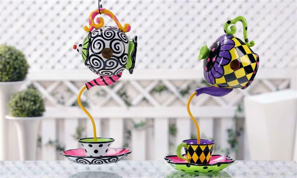 Birdhouse Birdfeeder Topsy Turvy Teapot Tea Cup