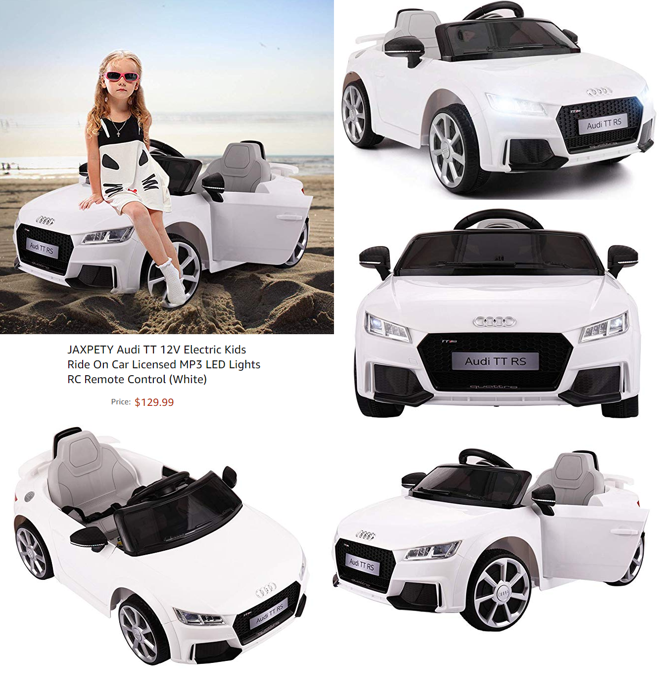 White 12V Audi TT RS Electric Kids Ride On Car Licensed R//C Remote Control Gifts