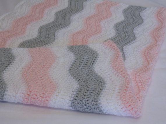 Crochet bebé manta color de rosa gris y blanco patrón de | tejido ...